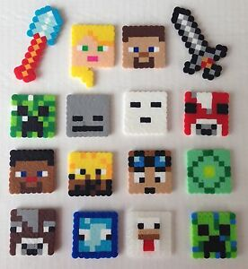 Set of 16 Minecraft Birthday Cake Cupcake Toppers Perler Beads ...