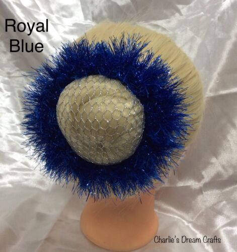 Royal Blue Tinsel Hair Scrunchie **Handmade**