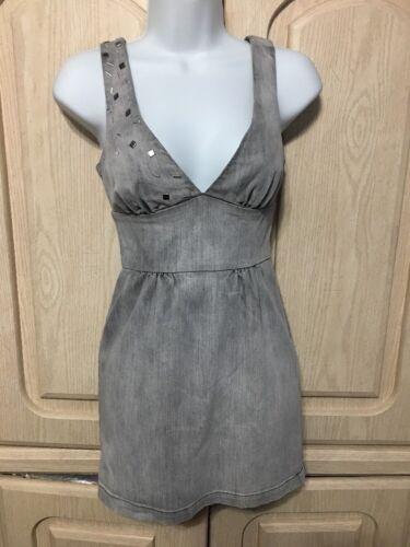 DENIM BODYCON DRESS Stretch 90/'s Vintage Dark Blue Jean Midi Sleeveless Summer  Medium