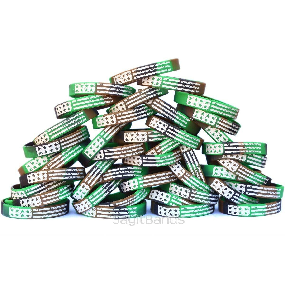 100 Camo Vintage Flag Debossed color Filled Silicone Wristband Bracelets
