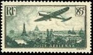 FRANCE-TIMBRE-STAMP-POSTE-AERIENNE-8-034-AVION-SURVOLANT-PARIS-85c-034-NEUF-xx-TTB