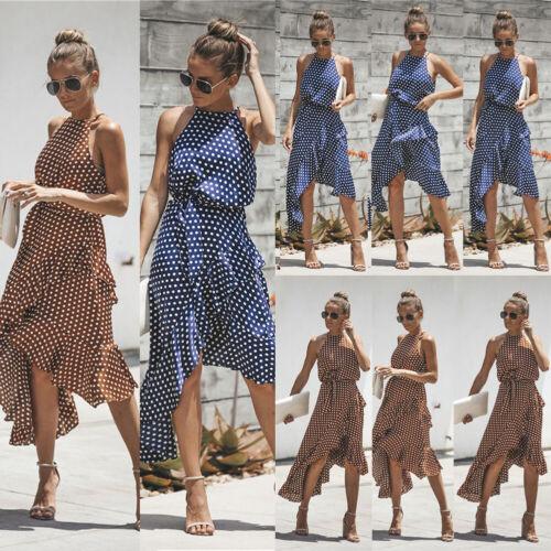 Plus Size Womens Spotted Sleeveless Dress Ladies Summer Holiday Beach Sun Dress
