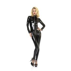 Patrice-Catanzaro-Sweety-Catsuit-sexy-avec-zip-pour-femme-en-vinyle-noir