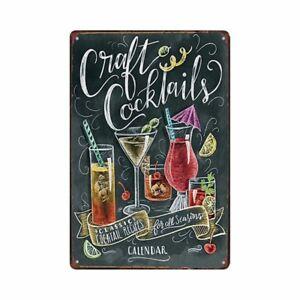Metal-Tin-Sign-cocktails-recipes-Decor-Bar-Pub-Vintage-Retro-Cafe-ART