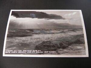 Date-Palm-Beach-California-CA-Storm-Salton-Sea-Real-Photo-RPPC-Nr-Springs-Indio