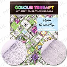 Item 2 VIVID GEOMETRY ADULT COLOURING BOOK Anti Stress Calm Relax Art Therapy Patterns