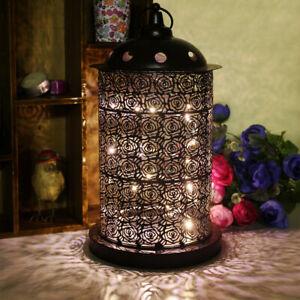 Tavoli Da Giardino Vintage.Vintage Black Rose Lanterna Led Lampada Da Tavolo In Metallo