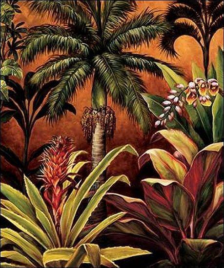 Rodolfo Jimenez  Ubud II Keilrahmen-Bild Leinwand Blaumen Palmen Tropen