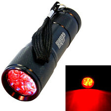 HQRP Profesional Linterna 9 LED con luz roja para caza, astronomía, navegación