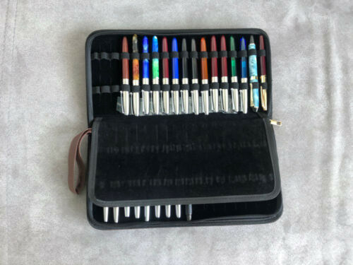 36 Roller Ball Fountain Ballpoint Pen Case Holder Faux Leather Zipper Pencil Bag