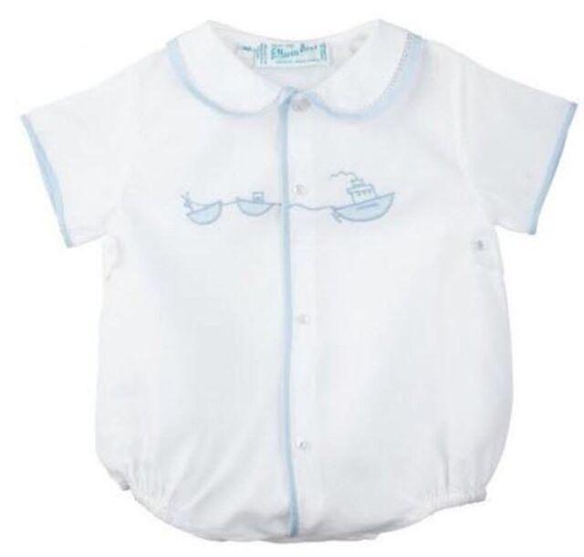 NWT Feltman Bros Brothers Boys White Diamond Smocked Romper Newborn Baby Blue
