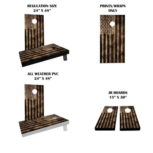 American Flag Burned Wood Themed Custom Cornhole Boards Variations