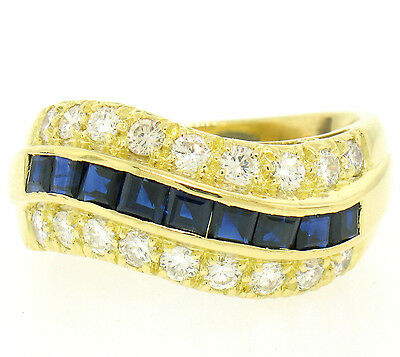 VERY FINE 18k Yellow Gold 2.50ctw Channel Square Sapphire Diamond Wave Band Ring