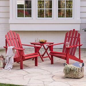 Image Is Loading Red 3 Piece Adirondack Bistro Patio Seating Set