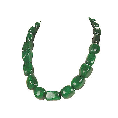 518.00 Cts Earth Mined 20 Inches Long Green Emerald Pear Faceted Beads Necklace