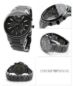 NEW-EMPORIO-ARMANI-AR1452-DIAL-43MM-BLACK-CERAMIC-MATTE-MEN-039-S-WATCH-UK