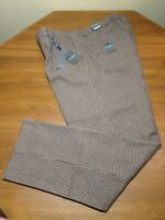 Steve Harvey Celebrity Edition Brown Houndstooth Plaid Wool Pants Mens 34x34