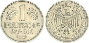 1 DM Currency Coin 1957 D (2) Xf-Bu / Mint State 47687