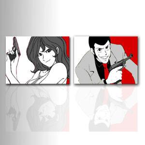 Quadri moderni Lupin e Fujiko dipinti a mano su tela arredo casa design pop art
