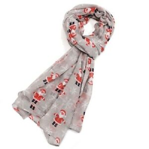 Santa-Father-Christmas-Scarf-Reindeer-Scarves-Grey-Red-Blue-Xmas-Secret-Gift-New
