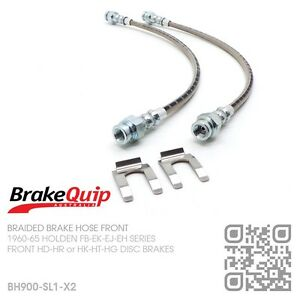 BRAIDED-BRAKE-HOSES-FRONT-HOLDEN-EJ-EH-with-HD-HR-HK-HT-HG-DISC-BRAKES-SILVER