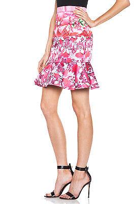 MARY KATRANTZOU $1,945 high waist crystal ribbon print ruffle skirt 12-UK/8-US