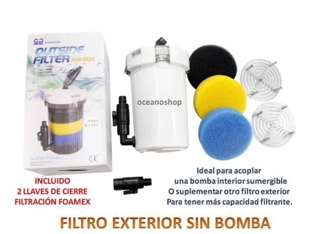 FILTRO EXTERIOR EXTERNO SIN BOMBA  HW-602 PRE-FILTRO ACUARIO PECERA