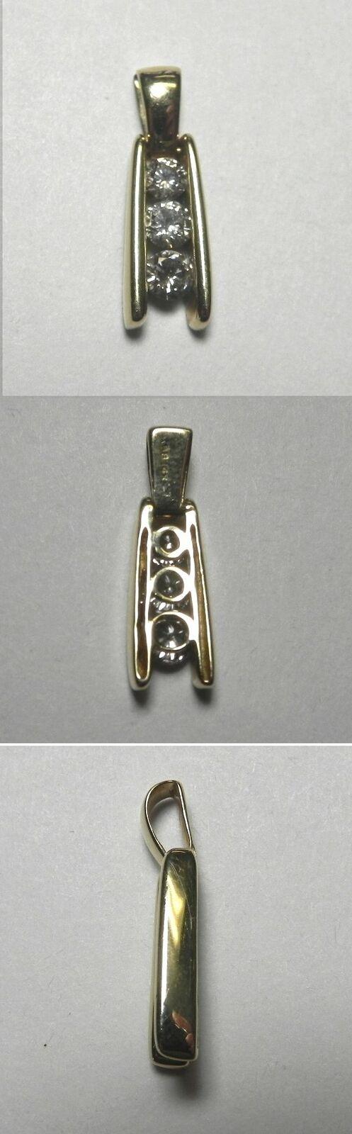C1035 Estate 14K Solid Yellow gold 1 2ctw 3-Stone Diamond Journey Pendant