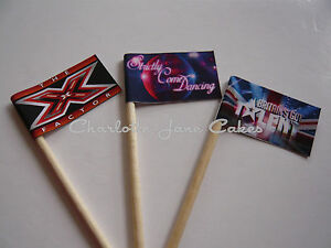 20 cupcake flags toppers x factor britains got talent strictly