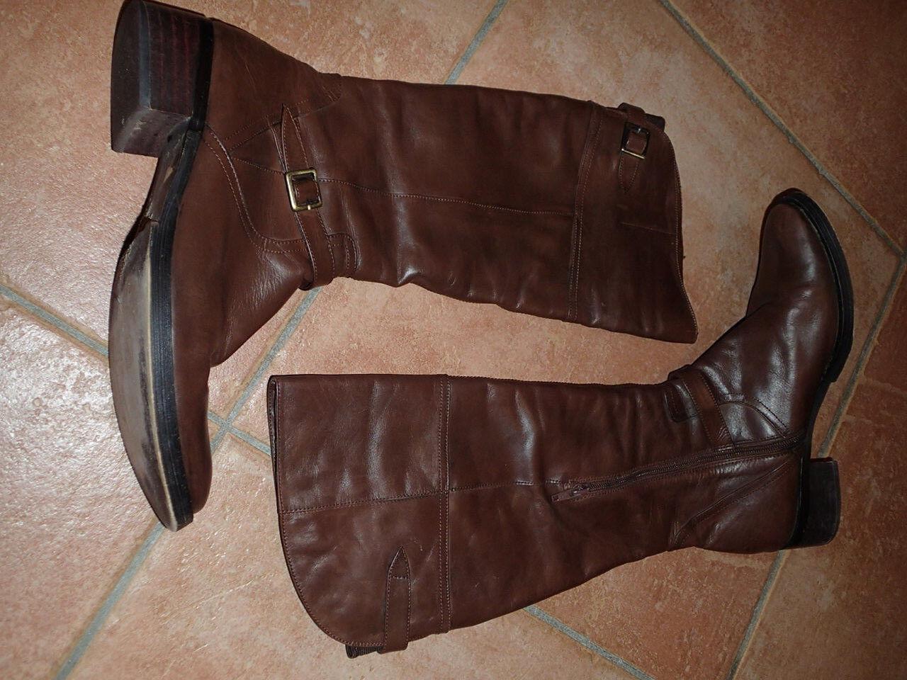Gr. 38 original Italy Venezia Stiefel Lederstiefel Klassiker braun Cognac Leder