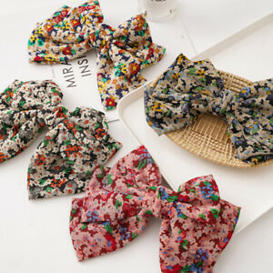 Satin-Hairpin-Hair-Accessories-Big-Bow-Ponytail-Small-Floral-Barrette-Hair-Clip