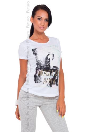 Women/'s casual top miracles encolure dégagée imprimé t-shirt en coton tailles 8-14 B05