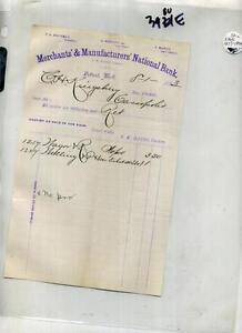 DETROIT MICHIGAN 1883 DOCUMENT MERCHANTS NATIONAL BANK