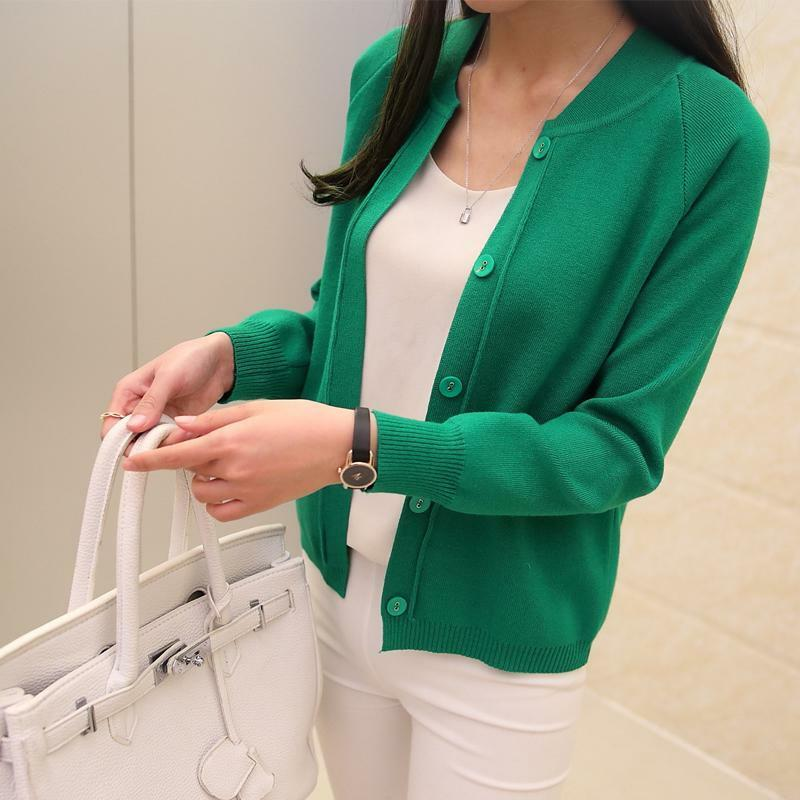 New Spring Summer Female Knit Cardigan Sweater Coat Short
