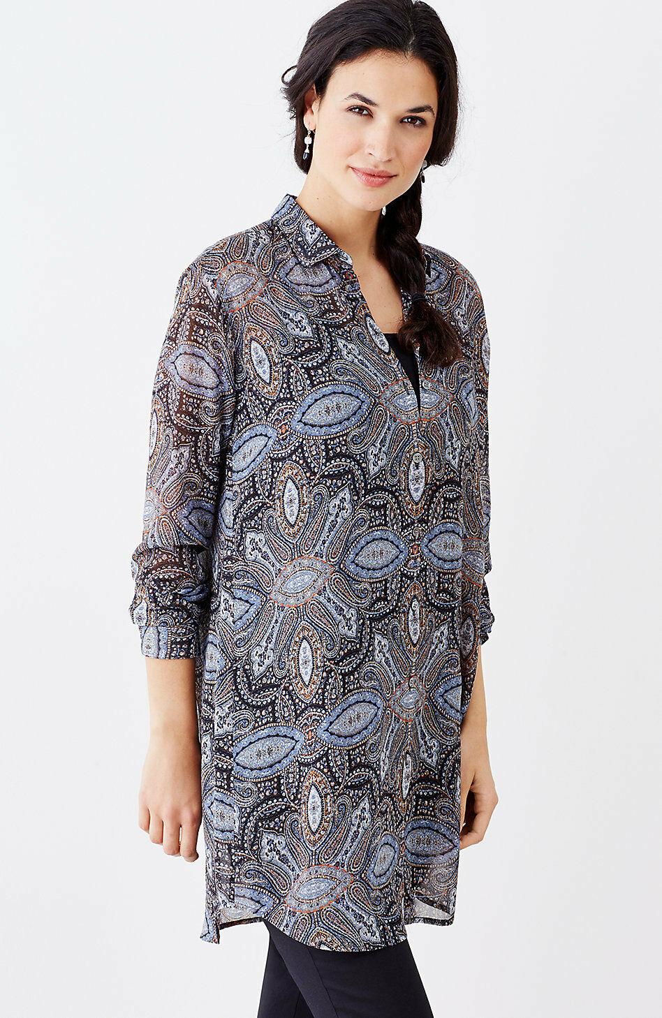 J. Jill - XS may fit S - GORGEOUS BREEZY TAPESTRY-PRINT LONG TUNIC - NWT