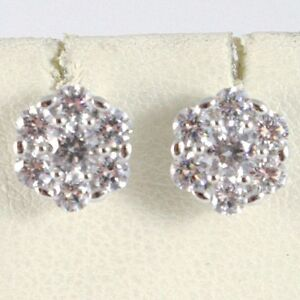PENDIENTES-ORO-BLANCO-18-CT-FLOR-CON-ZIRCONIA-CUBICOS-MADE-IN-ITALY-ORO-750