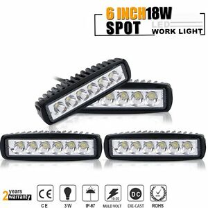 4X-6INCH-SINGLE-ROW-LED-Light-bar-Spot-Beam-SUV-ATV-4x4-OFFROAD-JEEP-GMC-Ford