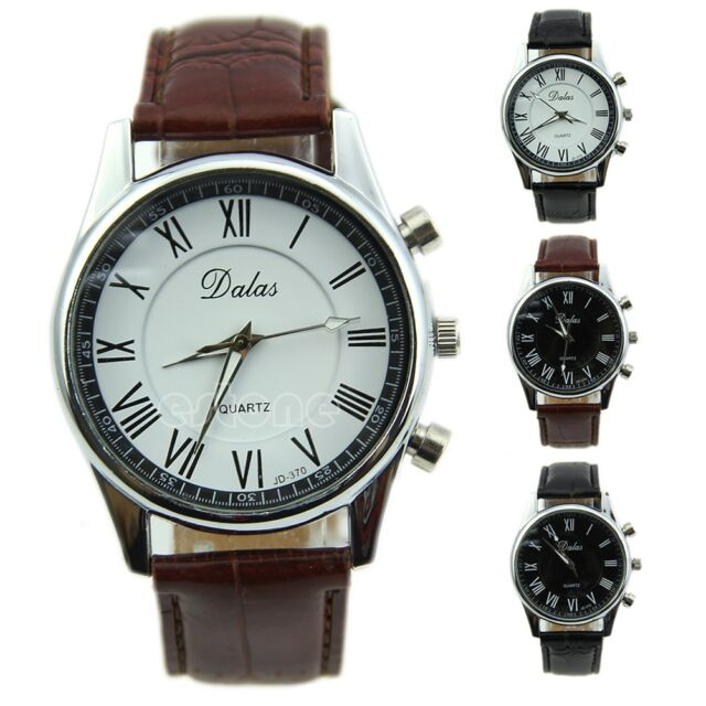 New Roman Dial Men Elegant Leather Black Analog Quartz Sport Wrist Watch