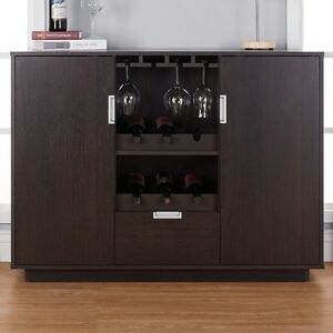 Wine Cabinet Bar Dining Buffet Storage Drawer Glass Home