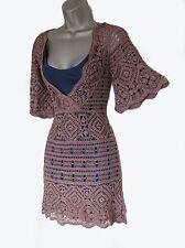 Unbranded Brown V-Neck Short Sleeves Crochet Dress 2 UK 10 (Karen Millen-style)