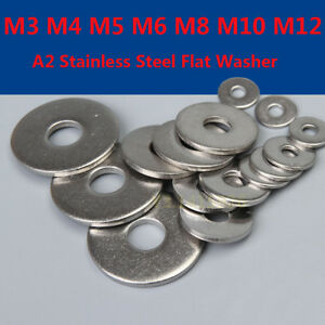 M3 M4 M5 M6 M8 M10 M12 A2 Stainless Steel Large Flat Washer DIN9021 New