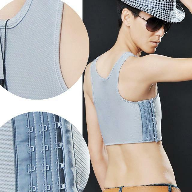 Fashion Breathable Buckle Short Chest Breast Binder Les Lesbian Tomboy Tops HOT