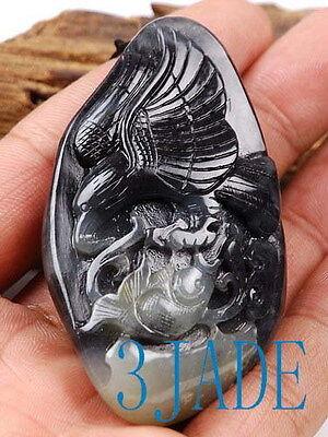 Natural Hetian Nephrite Jade Eagle Pendant / Carving /Art , w/ Certificate