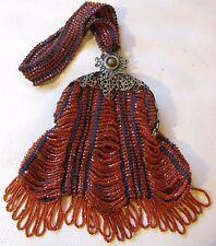 Antique Gold Filigree Frame Crochet Orange Glass Bead Fringe Flapper Purse NICE