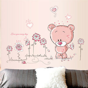 wandtattoo wandsticker aufkleber tier kinder pink rosa wald b r kinderzimmer ebay. Black Bedroom Furniture Sets. Home Design Ideas
