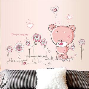 Wandtattoo wandsticker aufkleber tier kinder pink rosa for Wandbilder babyzimmer junge