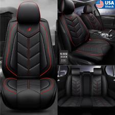 Blackred Auto Seat Covers Full Set Pu Leather Cushion Pad 5 Seats Car Universal