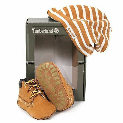 Timberland INFANT CRIB BOOTIES AND HAT SET Wheat