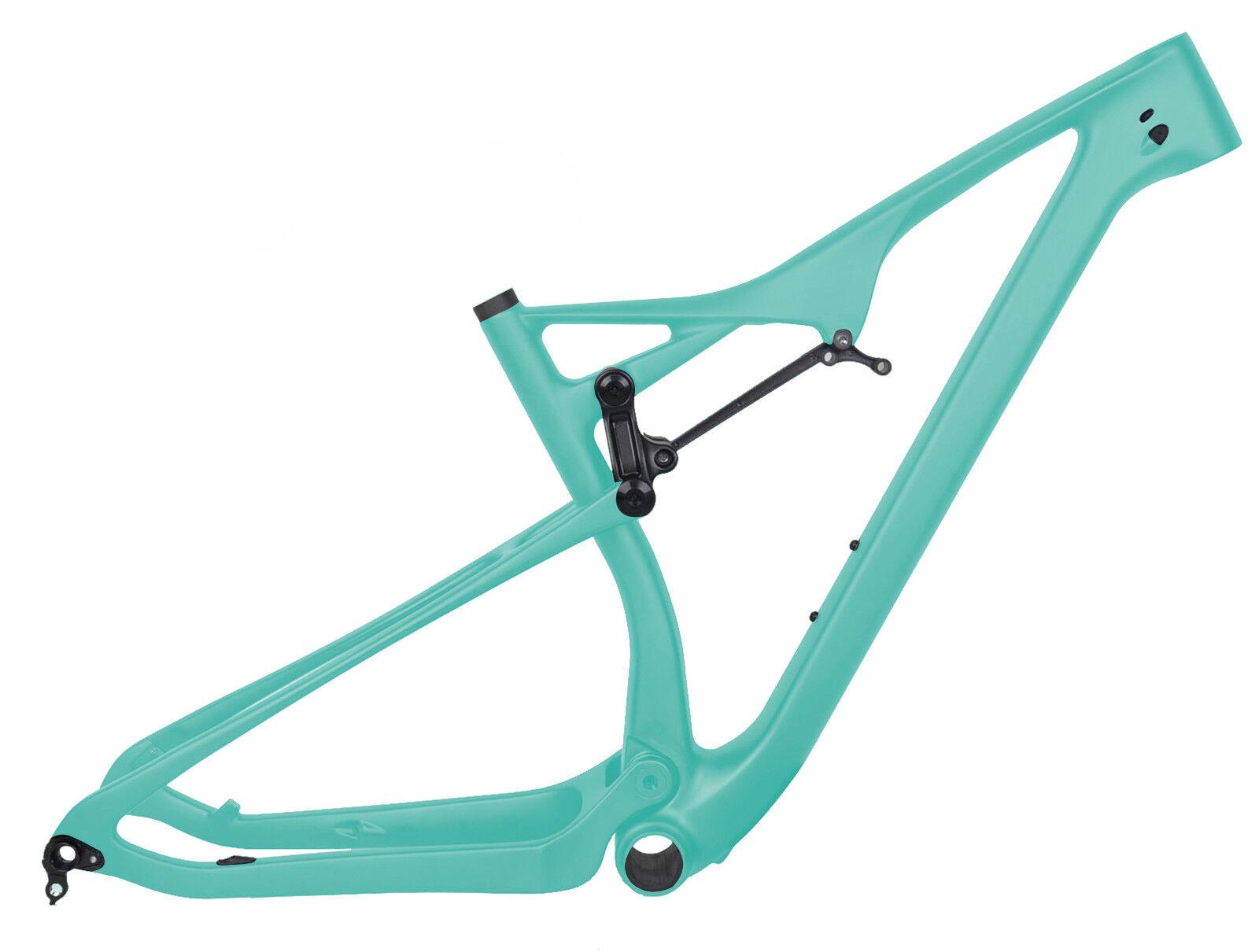 27.5er BOOST Full Suspension Carbon Frame verde Mountain Bike MTB 15.5 148x12