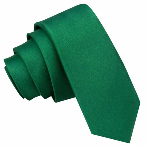 DQT Satin Plain Solid Emerald Green Formal Wedding Mens Skinny Tie